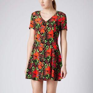 Topshop Petite Poppy Print A-Line Tea Dress